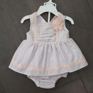NWT Baby Girl Grey Pink Seersucker Dress 3-6m